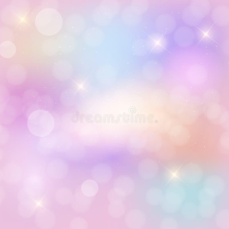 Abstrakt bakgrund för regnbågehimmelfantasi med att blänka stjärnor ocks? vektor f?r coreldrawillustration royaltyfri illustrationer