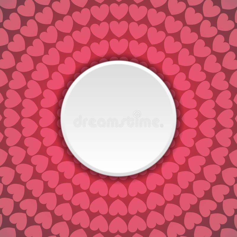 Abstrakt bakgrund för rosa hjärtor med den tomma cirkeln royaltyfri illustrationer