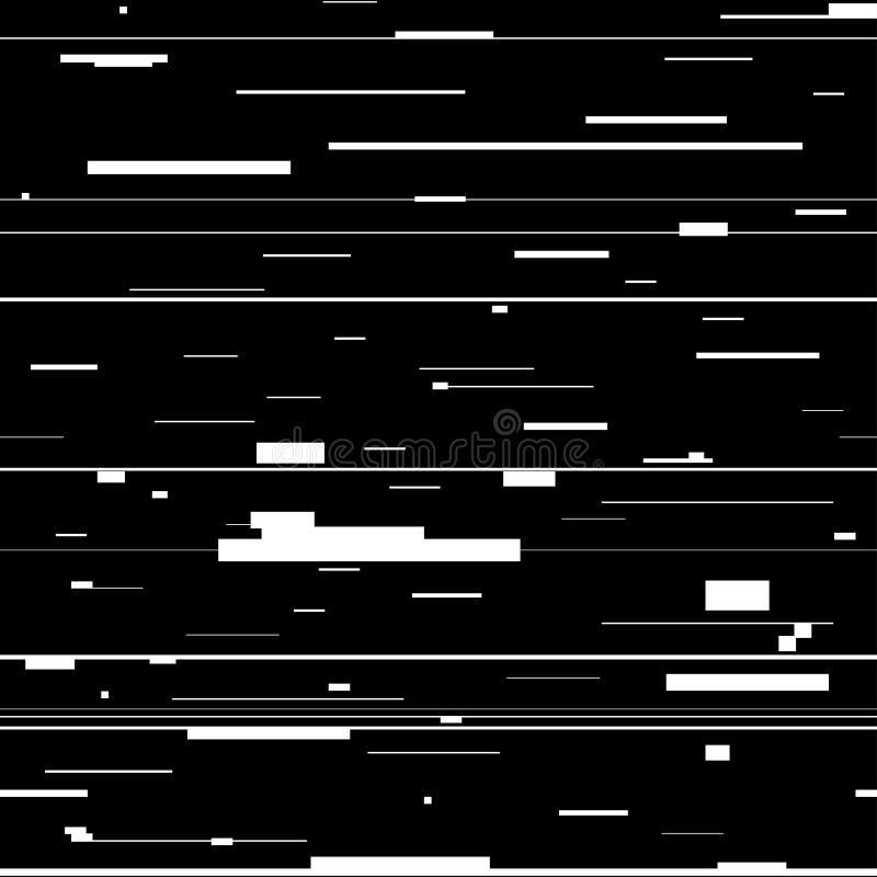 Abstrakt bakgrund för tekniskt fel Glitched bakgrund med distorsion, sömlös modell med slumpmässiga horisontalsvartvita linjer royaltyfri illustrationer