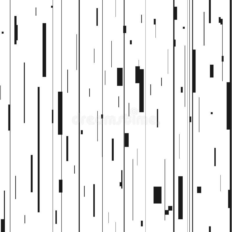 Abstrakt bakgrund för tekniskt fel Glitched bakgrund med distorsion, sömlös modell med slumpmässiga vertikala svartvita linjer royaltyfri illustrationer
