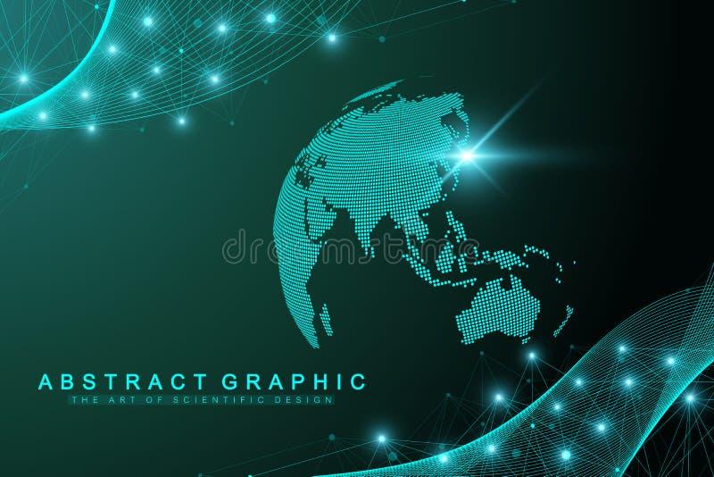 Abstrakt bakgrund för teknologi med förbindelselinjen och prickar Stor datavisualization Konstgjord intelligens och maskin royaltyfri illustrationer