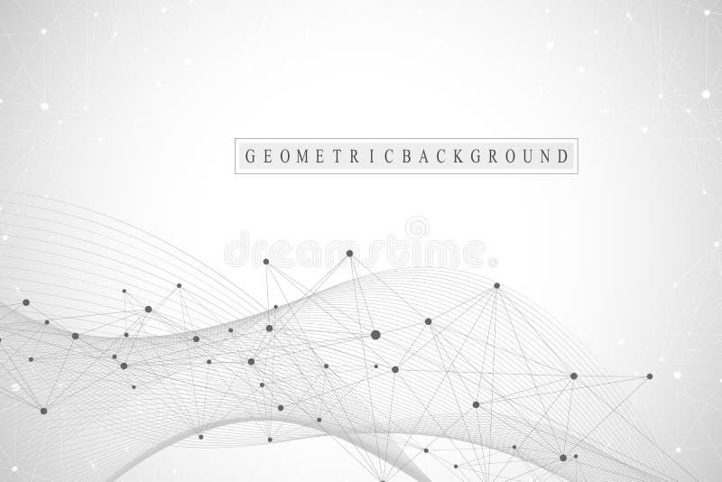 Abstrakt bakgrund för teknologi med förbindelselinjen och prickar Stor datavisualization Konstgjord intelligens och maskin vektor illustrationer