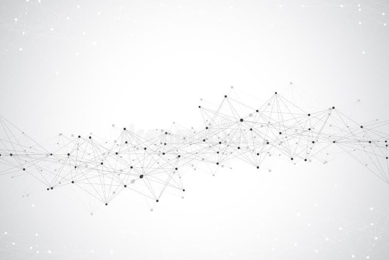 Abstrakt bakgrund för teknologi med förbindelselinjen och prickar Stor datavisualization Perspektivbakgrundvisualization royaltyfri illustrationer