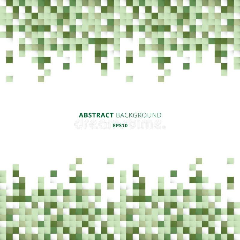 Abstrakt bakgrund för titelrad och för fyrkantmodell för footers geometriskt vitt och grönt för PIXEL med kopieringsutrymme Du ka stock illustrationer