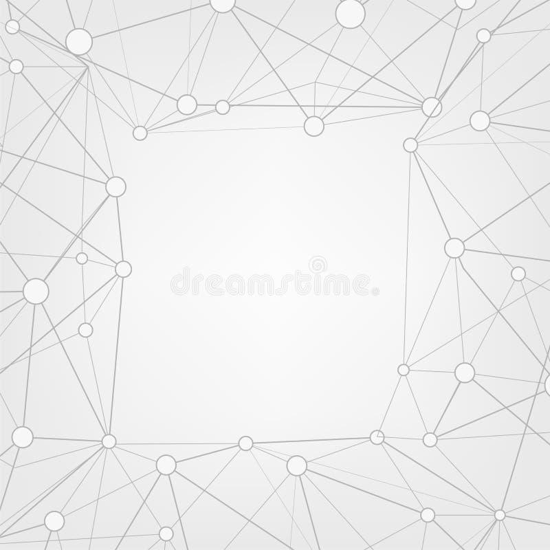 Abstrakt bakgrund för triangelkopieringsutrymme Låg poly ram med stället för text Förbindelseprickar och linjer vektor illustrationer