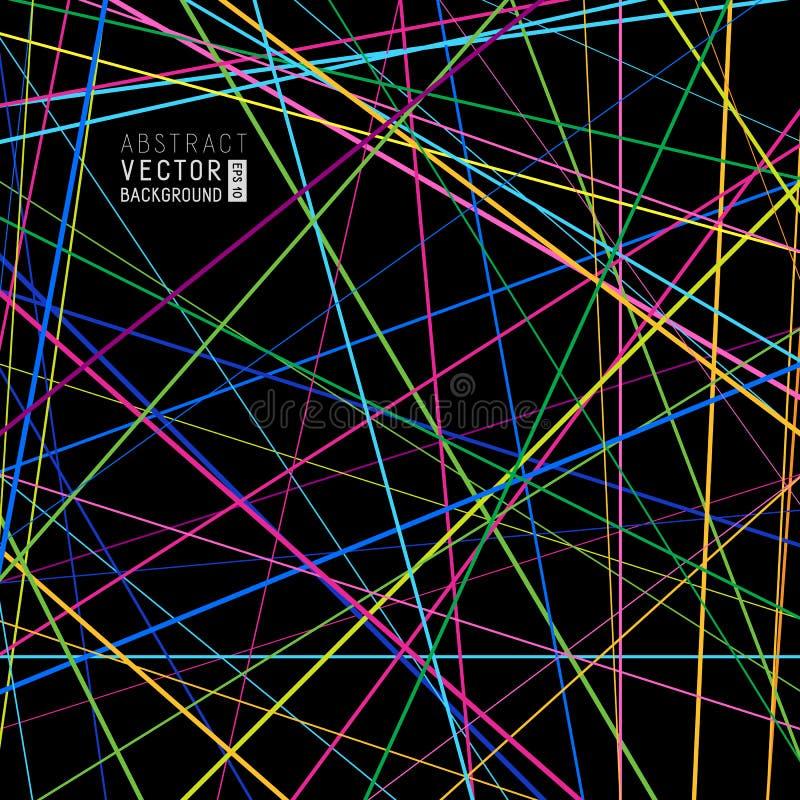 Abstrakt bakgrund för universal från genomskärning av färgrika linjer nolla stock illustrationer