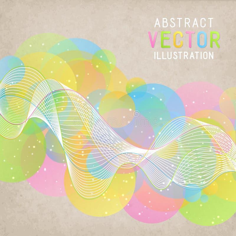 Abstrakt bakgrund för universal med färgrika cirklar och vita Wa vektor illustrationer