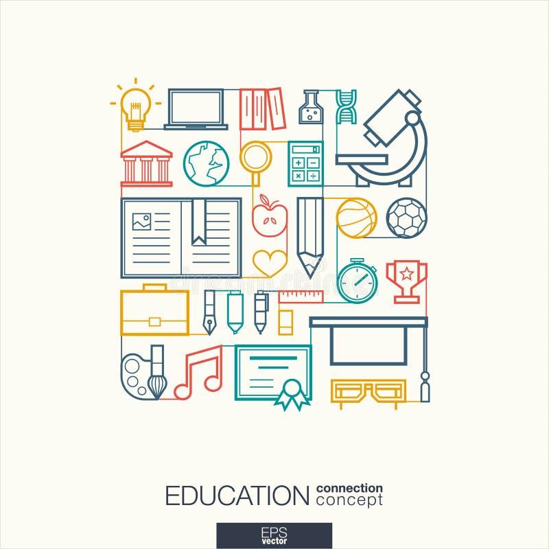 Abstrakt bakgrund för utbildning, inbyggd tunn linje symboler stock illustrationer