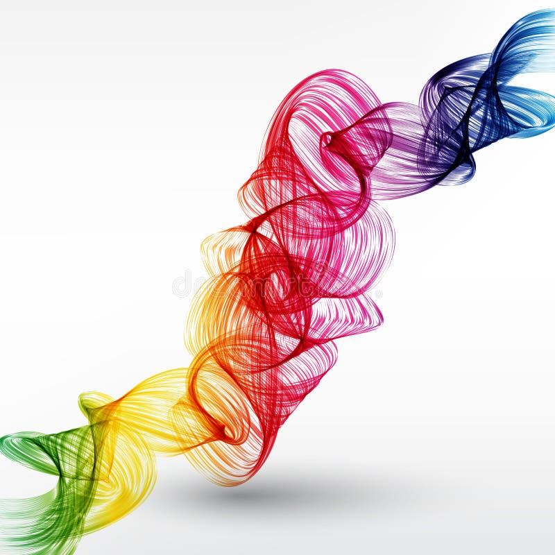 Abstrakt bakgrund för vågvektorn, den vinkade regnbågen fodrar för broschyren, websiten, reklambladdesign Spektrumvåg Lycka- och  royaltyfri illustrationer