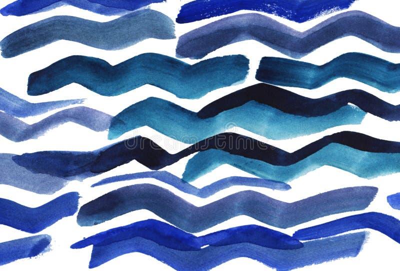 Abstrakt bakgrund för vattenfärg Blåa målarfärgslaglängder Vattenfärgvågor royaltyfri illustrationer