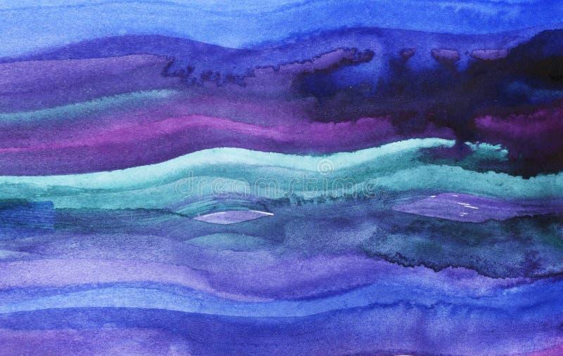 Abstrakt bakgrund för vattenfärg Blåa och purpurfärgade målarfärgslaglängder Vattenfärgvågor royaltyfri illustrationer