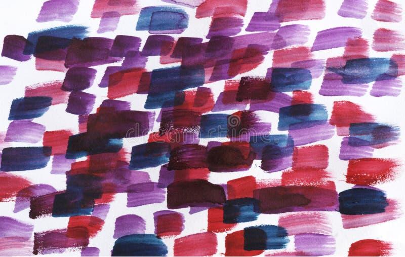 Abstrakt bakgrund för vattenfärg Röda, blåa och purpurfärgade målarfärgslaglängder royaltyfri foto