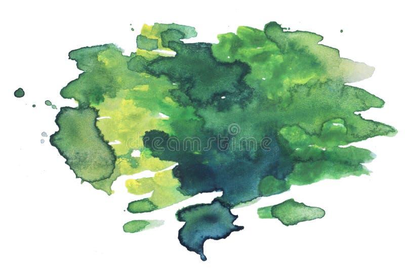 Abstrakt bakgrund för vattenfärggräsplan Grön vattenfärgplump vektor illustrationer