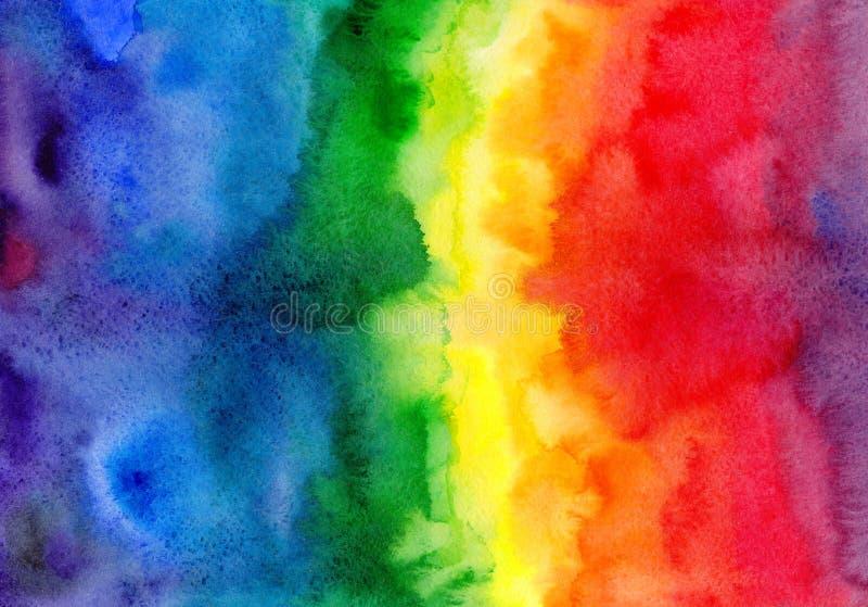 Abstrakt bakgrund för vattenfärgregnbågelutning stock illustrationer