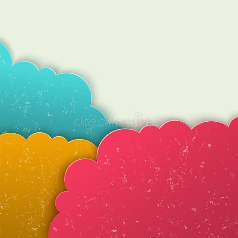 Abstrakt bakgrund för vektor 3d. Moln bildar. stock illustrationer