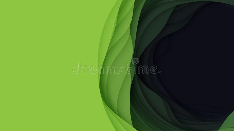 Abstrakt bakgrund för vektor 3D med pappers- klippt form Färgrik grön snida konst För antilopkanjon för pappers- hantverk landska royaltyfri illustrationer