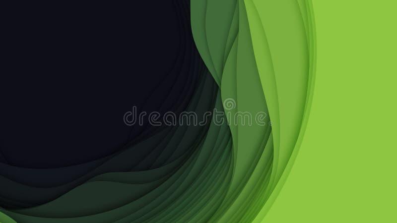 Abstrakt bakgrund för vektor 3D med pappers- klippt form Färgrik grön snida konst För antilopkanjon för pappers- hantverk landska vektor illustrationer