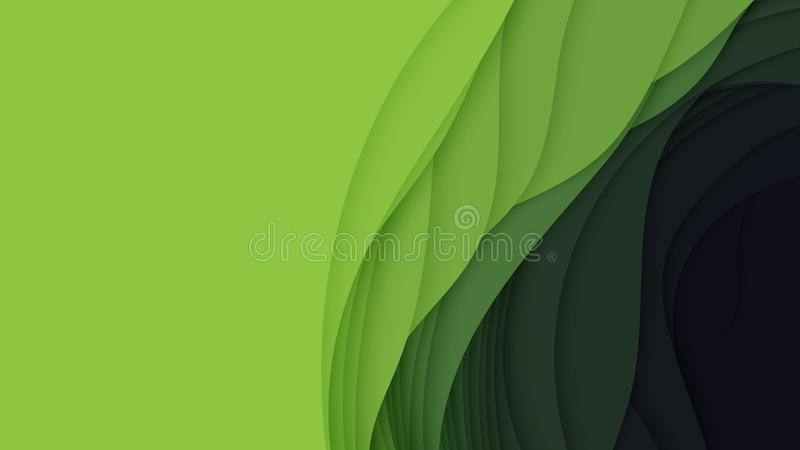Abstrakt bakgrund för vektor 3D med pappers- klippt form Färgrik grön snida konst För antilopkanjon för pappers- hantverk landska stock illustrationer