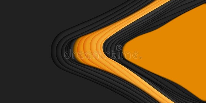 Abstrakt bakgrund för vektor 3D med pappers- klippt form Orange och svart snida konst För antilopkanjon för pappers- hantverk lan vektor illustrationer
