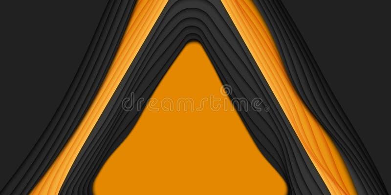 Abstrakt bakgrund för vektor 3D med pappers- klippt form Orange och svart snida konst För antilopkanjon för pappers- hantverk lan stock illustrationer