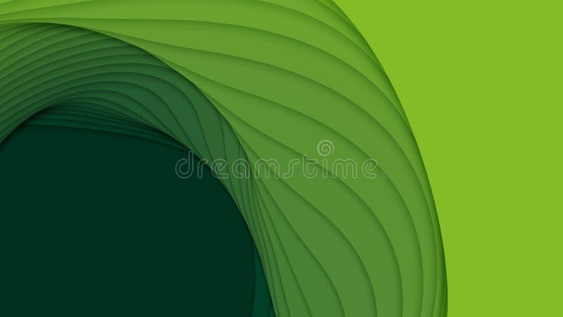 Abstrakt bakgrund för vektor 3D med pappers- klippta former Grön snida konst Landskapet för det pappers- hantverket med lutning b stock illustrationer