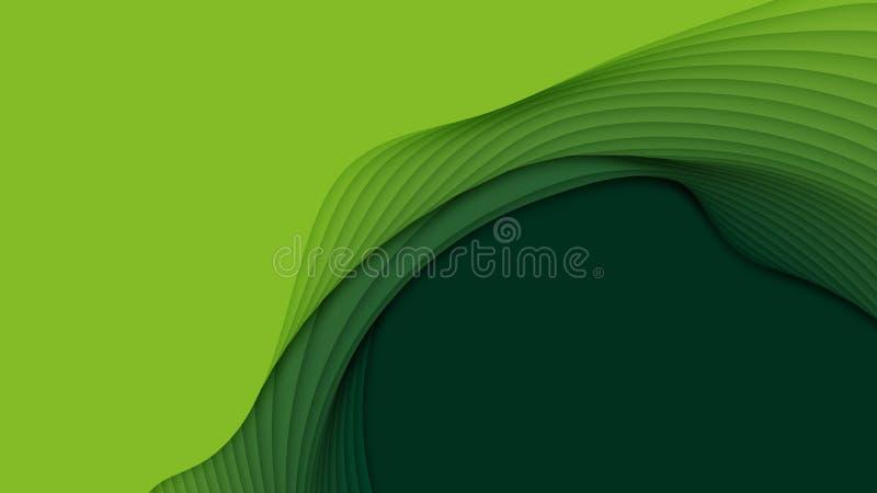 Abstrakt bakgrund för vektor 3D med pappers- klippta former Grön snida konst Landskapet för det pappers- hantverket med lutning b royaltyfri illustrationer