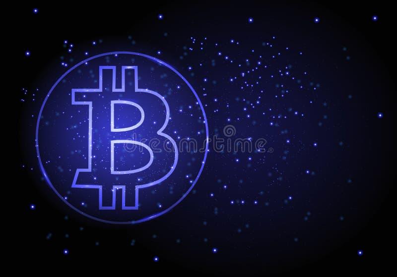 Abstrakt bakgrund för vektor med ett symbol av bitcoin-crypto valuta vektor illustrationer