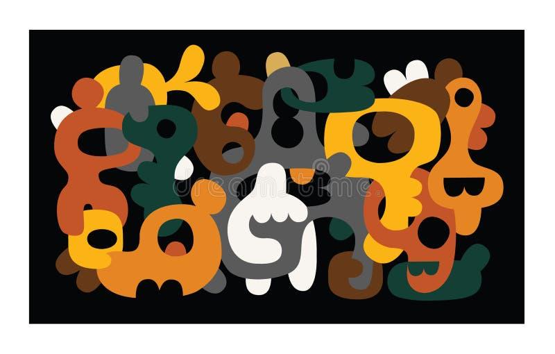 Abstrakt bakgrund för vektor med färgglade moderna former stock illustrationer
