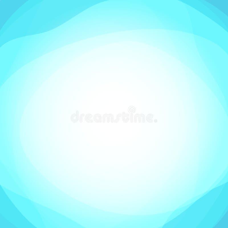Abstrakt bakgrund för vektor med glöd och sken i mitten - blå bakgrund av klar himmel med anbud- och ljuslynne royaltyfri illustrationer