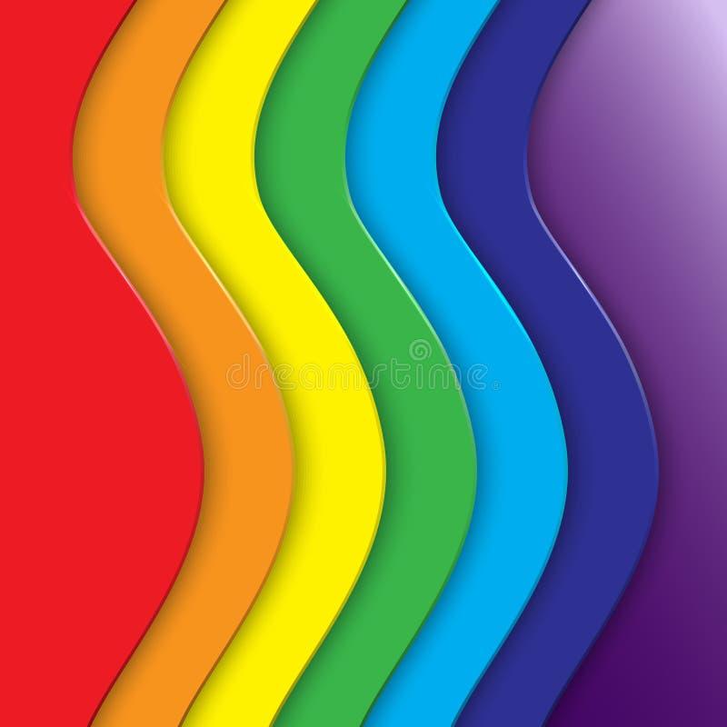 Abstrakt bakgrund för vektor med regnbågekurvlinjer stock illustrationer
