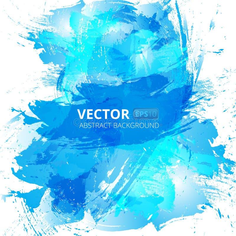Abstrakt bakgrund för vektorblåttvattenfärg royaltyfri illustrationer