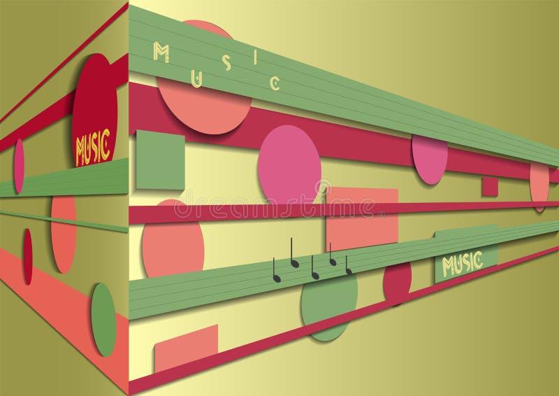 Abstrakt bakgrund för vektormusikask stock illustrationer