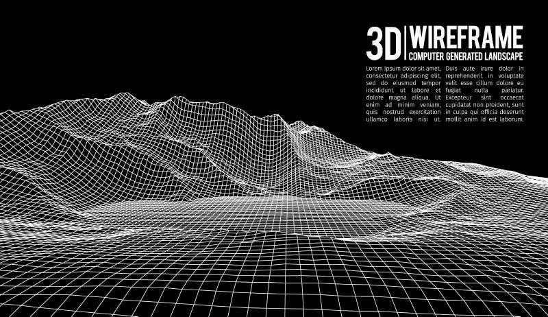 Abstrakt bakgrund för vektorwireframelandskap Cyberspaceraster för wireframevektor för teknologi 3d illustration digitalt stock illustrationer