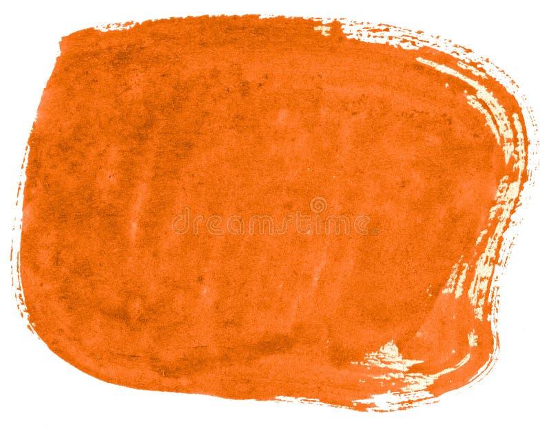 Abstrakt bakgrund för vibrerande orange vattenfärg, fläck, färgstänkmålarfärg, fläck, skilsmässa Tappningm?lningar f?r design och royaltyfri fotografi