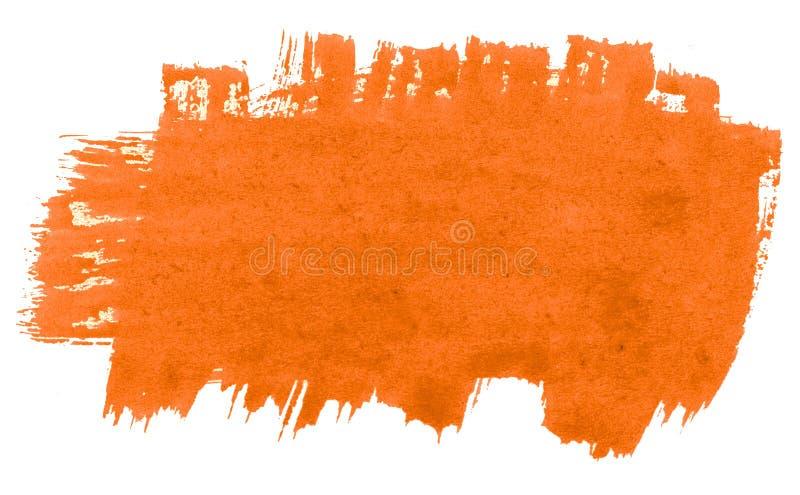 Abstrakt bakgrund för vibrerande orange vattenfärg, fläck, färgstänkmålarfärg, fläck, skilsmässa Tappningm?lningar f?r design och stock illustrationer