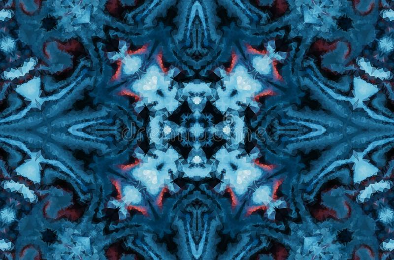 Abstrakt bakgrund för vinterfantasi Kalejdoskopisk geometrisk prydnad Dekorativ polygonal mosaikmodell stock illustrationer