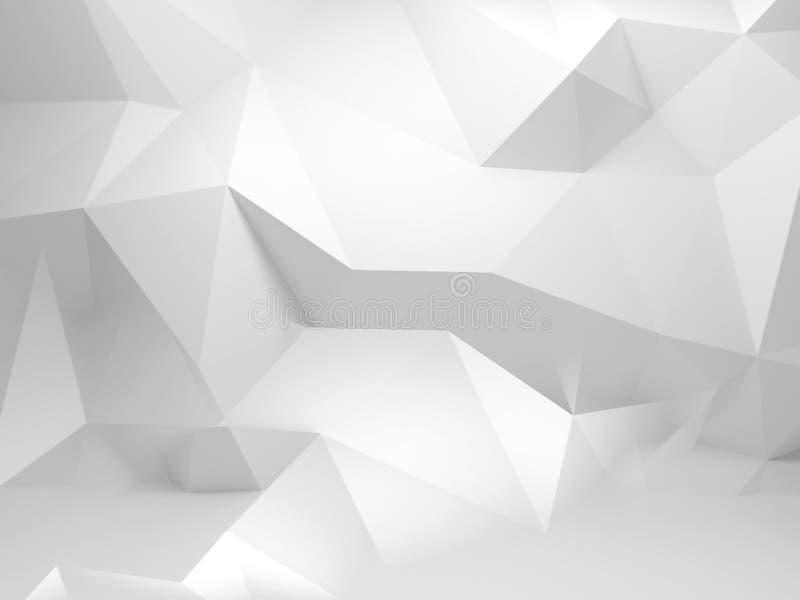 Abstrakt bakgrund för vit 3d med den polygonal modellen royaltyfri illustrationer