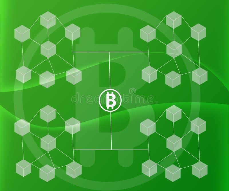 Abstrakt bakgrund förband kvarter Bitcoin på lutningar för grön färg stock illustrationer