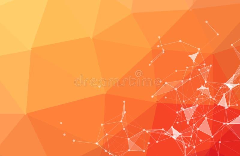 Abstrakt bakgrund f?r apelsin f?r vektorutrymme Kaotiskt f?rbindelsepunkter och polygoner som flyger i utrymme Flygskr?p futurist royaltyfri illustrationer