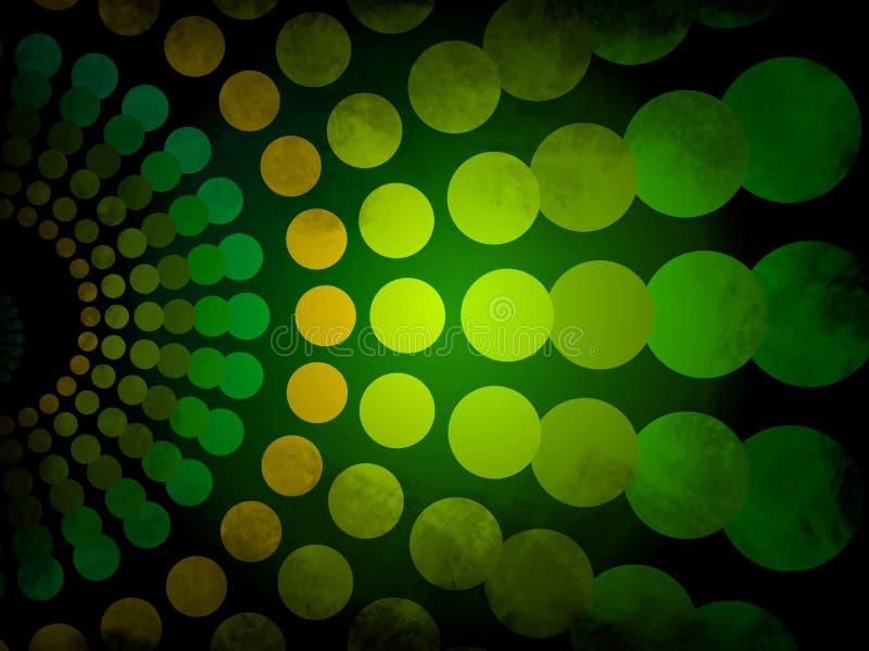 Abstrakt bakgrund - göra grön och gulna grunge med cirkelmodellen royaltyfri illustrationer