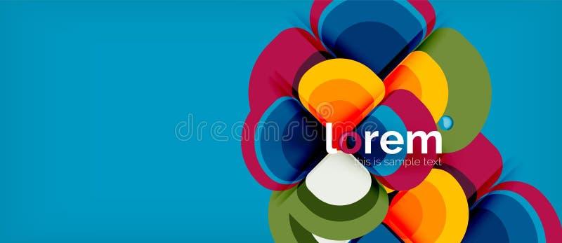 Abstrakt bakgrund - geometrisk mångfärgad sammansättning för rundaformer Moderiktig abstrakt orienteringsmall för affär eller royaltyfri illustrationer