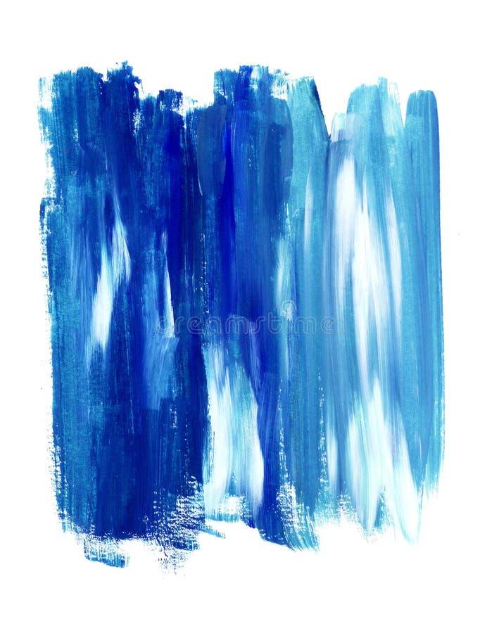 Abstrakt bakgrund, hand-målad textur, blåa borsteslaglängdfläckar royaltyfri bild
