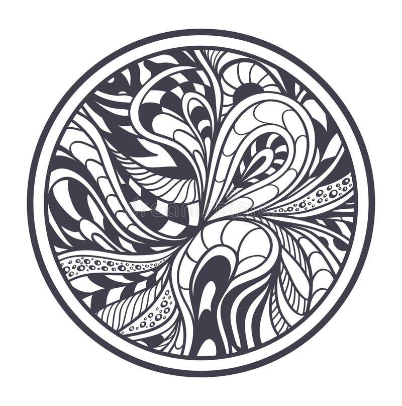 Abstrakt bakgrund i svart för Zen-tova Zen-klotter stil på vit i cirkel stock illustrationer