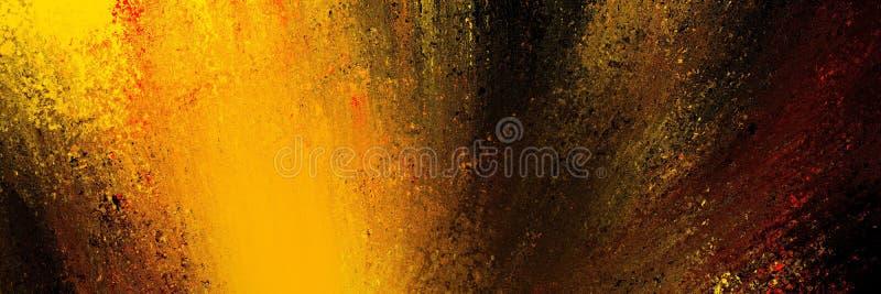 Abstrakt bakgrund i svart med klarorange gul och röd färg i färg med plashdesign, färgstark explosion eller dramatisk pensel vektor illustrationer