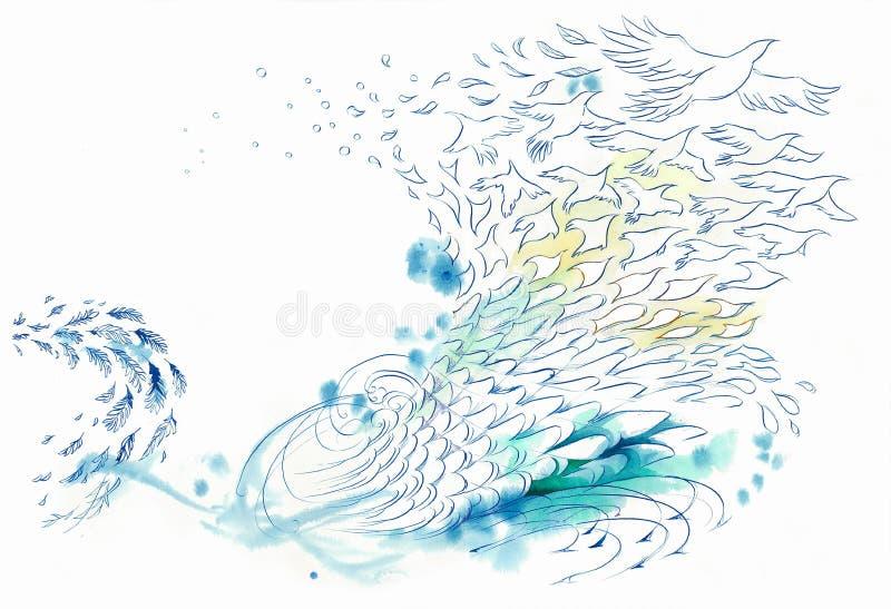 Abstrakt bakgrund lindar och bevattnar fisken och fågeln stock illustrationer