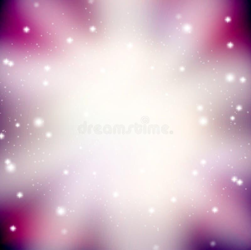 Abstrakt bakgrund med att blänka och ljus - purpurfärgade strålar royaltyfri illustrationer