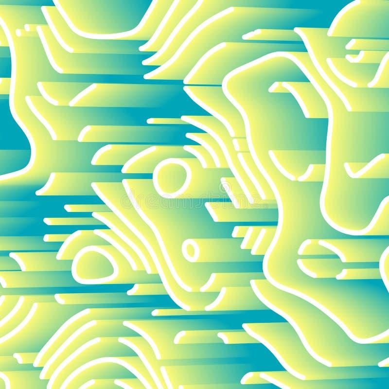 Abstrakt bakgrund med beståndsdelar 3d Gul pastellfärgad tapet med perspektivlabyrinten Teknisk stil med våglinjen royaltyfri illustrationer