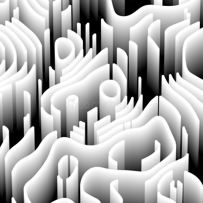 Abstrakt bakgrund med beståndsdelar 3d Svartvit tapet med perspektivlabyrinten Teknisk stil med vågen vektor illustrationer