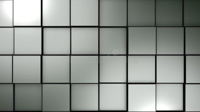 Abstrakt bakgrund med blåa glansiga kuber, 3d att framföra royaltyfri illustrationer