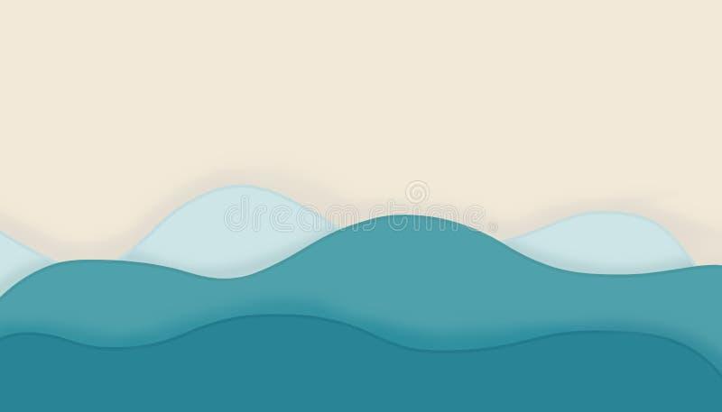 Abstrakt bakgrund med blåa kurvvågor sommar f?r sn?ckskal f?r sand f?r bakgrundsbegreppsram royaltyfri illustrationer